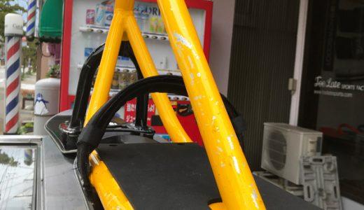 本日の中古スノースクート組み上げ。軽量入門モデルワンイエロー!